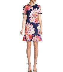 coast embellished faille print drop waist dress