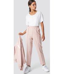 na-kd elastic waist seamline pants - pink