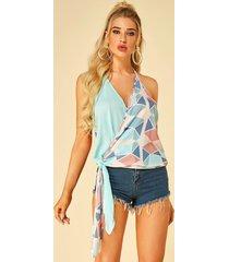yoins multi geometrical crossed front diseño camisón anudado con cuello halter