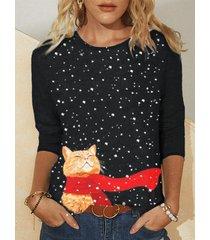 camicetta di dimensioni plus casual a maniche lunghe con stampa nevosa di gatto