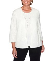 alfred dunner petite glacier lake sequined two-for-one necklace sweater