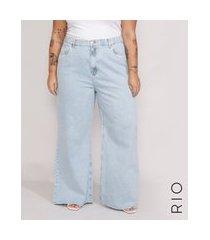 calça jeans feminina plus size mindset wide rio cintura super alta azul claro