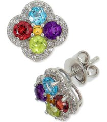 amethyst (1-7/8 ct. t.w.) & white topaz (1/4 ct. t.w.) clover cluster halo stud earrings in sterling silver (also in london blue topaz, rhodolite garnet & multi-stone)