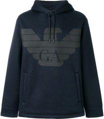 emporio armani slouchy logo hoodie - blue