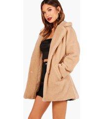 faux fur teddy coat, stone