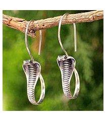sterling silver drop earrings, 'cobra guardian' (thailand)