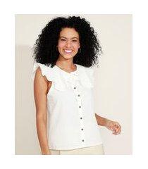 camisa feminina com babados sem manga gola laço off white