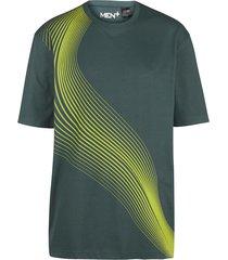t-shirt men plus donkergroen::neongeel