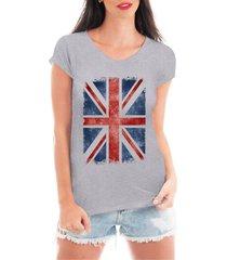 camiseta criativa urbana bandeira londres cinza - cinza - feminino - dafiti