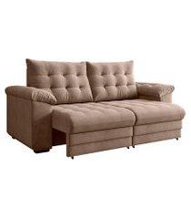 sofá 3 lugares retrátil e reclinável europa suede bege
