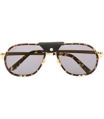 cartier eyewear aviator-frame tortoiseshell-effect sunglasses - gold