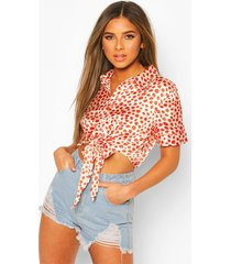 petite knot front satin leopard print shirt, orange