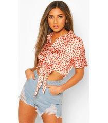 petite knot front satin leopard print shirt
