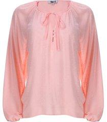 blusa unicolor manga larga