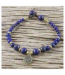 lapis lazuli beaded bracelet, 'phuket waves' (thailand)