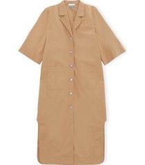 ripstop cotton chino shirt dress in tannin