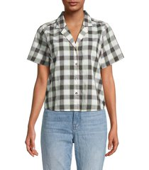 madewell women's anni check shirt - black white - size s