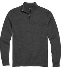 jos. a. bank traveler men's charcoal modern fit 1/4 zip mock neck sweater - size: xlt
