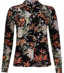 camisa estampado floral color negro, talla 10