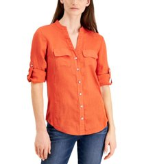 inc petite side-panel roll-tab shirt, created for macy's
