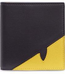 fendi corner bugs slim wallet - black