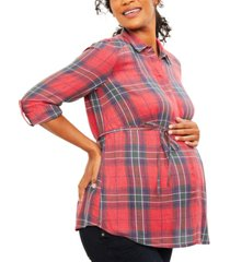 a pea in the pod maternity plaid cotton shirt