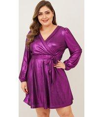 yoins plus tamaño púrpura cinturón diseño cuello de pico vestido