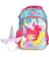 mochila escolar infantil luxcel moranguinho