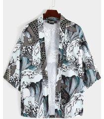 chaqueta de punto con estampado retro de animales de pescado estilo chino informal para hombre