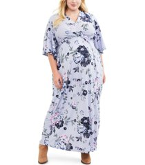 jessica simpson maternity plus size printed maxi dress