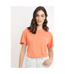 "t-shirt feminina mindset com bordado lovely"" manga curta decote redondo laranja"""