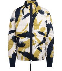 kenzo down jacket with brushed camo lime and blue print