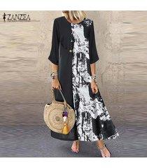zanzea mujeres de cuello redondo camisa de vestir de manga 3/4 floral retro del remiendo de la impresión vestido a media pierna -negro