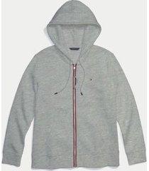 tommy hilfiger women's adaptive classic zip hoodie light grey heather - xs