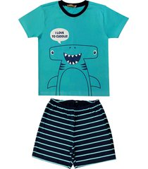 conjunto pijama de tubarã£o douvelin azul - azul - menino - algodã£o - dafiti