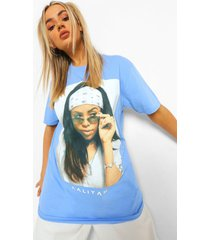 oversized gelicenseerd aaliyah t-shirt, light blue