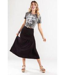 ceina ruched midi skirt - black