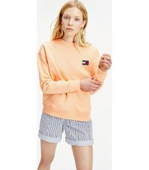 tommy hilfiger women's organic cotton badge sweatshirt melon orange - xxs