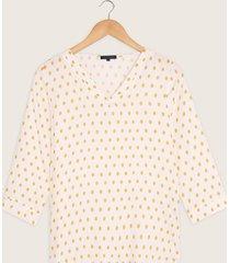 blusa manga 3/4 cuello v estampada-xl