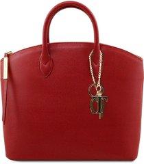 tuscany leather tl141261 tl keyluck - borsa shopper in pelle saffiano rosso