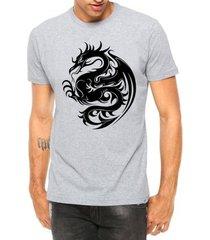 camiseta criativa urbana dragão tribal tattoo manga curta - masculino