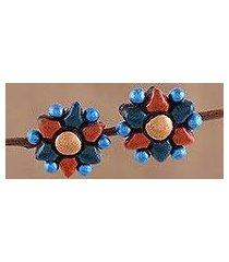 ceramic button earrings, 'delightful flowers' (india)