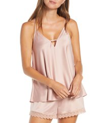women's flora nikrooz victoria satin camisole, size large - pink