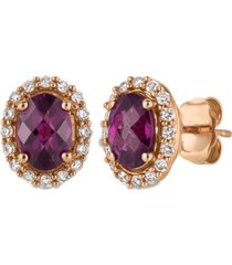 le vian raspberry rhodolite garnet (1-5/8 ct. t.w.) and diamond (1/4 ct. t.w.) stud earrings in 14k rose gold