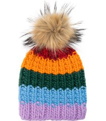 women's sh*t that i knit the rutherford merino wool beanie with removable faux fur pompom - blue