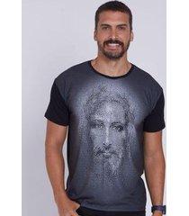 camiseta face de jesus cristo dve4463 ágape masculina - masculino