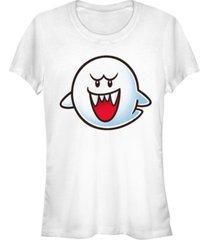 fifth sun nintendo women's super mario boo face short sleeve tee shirt