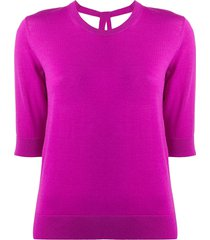dorothee schumacher 3/4 sleeves tie-back pullover - purple