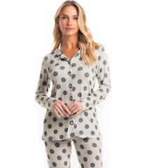 pijama longo abotoado poá mel