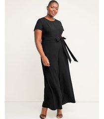 lane bryant women's lena wide leg crop jumpsuit 28 black